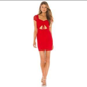 Superdown Red Mesh Mini Dress